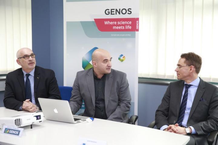 Jyrki Katainen, Vice President of the EC visited Genos
